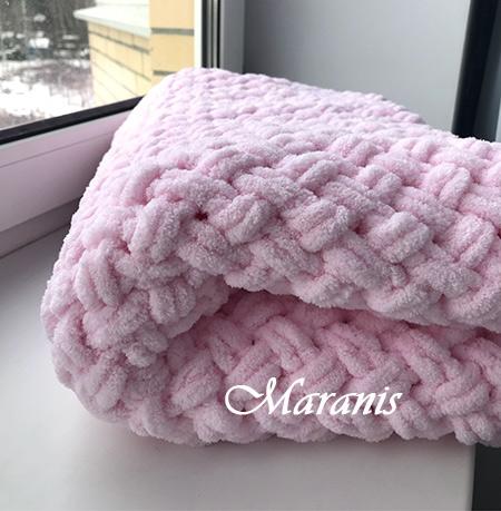 Плед из ализе для новорожденного Pink2