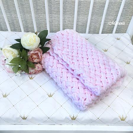 Плед из ализе для новорожденного Pink