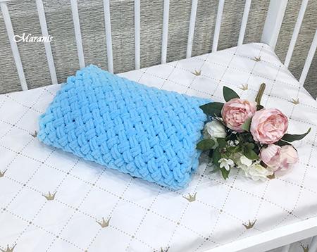 Плед из ализе для новорожденного Blue