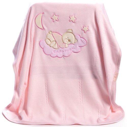 Вязанный плед для малыша. Розовый