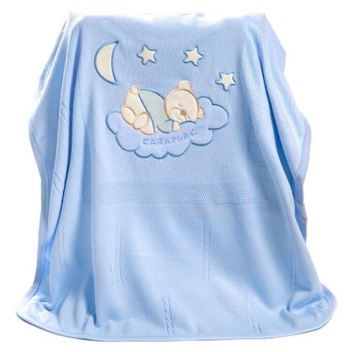 Вязанный плед для малыша. Голубой.