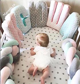 Буквы подушки в кроватку