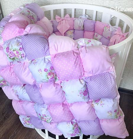 Одеяло бонбон в круглую кроватку «Вишня»