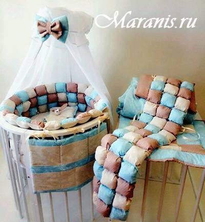"""Бортики в круглую кроватку бонбон """"Шоколад"""" в Москве"""