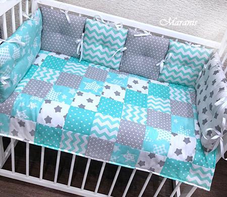 Комплект в кроватку «Мята с серым»