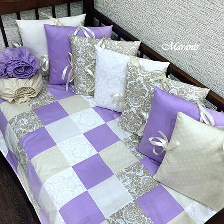Комплект в детскую кроватку для новорожденных Сиреневые сны фото