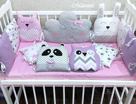 """Бортики в кроватку с мишками и совами """"Оттенки розового"""" фото"""
