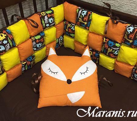 Подушка лиса в кроватку от Maranis